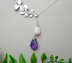 Birthstone Necklace Couples Birthstone Mother by DanglingJewelry, $45.00