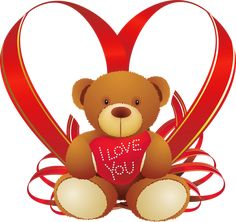 Red Heart with Teddy Bear PNG Clipart