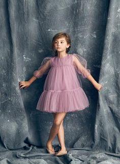 nylon dress with balloon sleeves in Lavender Herb. *PRE-ORDER item: Ships by - Frocks For Girls, Little Girl Dresses, Girls Dresses, Baby Girl Fashion, Kids Fashion, Whimsical Dress, Girls Frock Design, Kids Gown, Baby Dress
