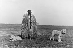 Rudolf Balogh, Shepherd with his Dogs, Hortobagy, c. Hungarian Museum of Photography. © Hungarian Museum of Photography Andre Kertesz, Vintage Photographs, Vintage Photos, Brassai, Dog Poses, Royal Academy Of Arts, Photography Exhibition, Gelatin, Black And White Photography