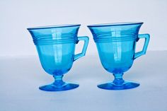 vintage teal blue glassware by JuliesStore on Etsy, $4.00