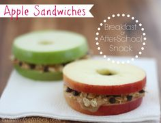 apple sandwiches ... BRILLIANT! Great snack or lunch idea!