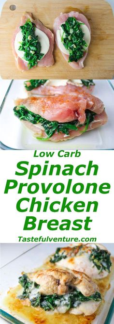 Baked Spinach Provolone Chicken Breasts #lowcarb #protein #mealprep