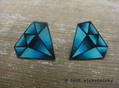 Vintage Tattoo Diamond Earrings nickel free studs by wickedminky - Stylehive