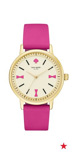 Pretty in pink and adorable bow details, the Kate Spade New York Crosby watch can be worn at the office or without a cute weekend look.