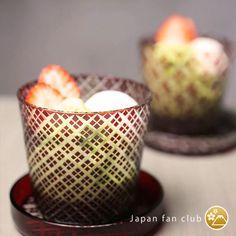 """和風デザートにもぴったりな、廣田硝子の江戸切子。Beautiful japanese crafts, """"edokiriko"""" glass. (Brand: Hirota glass)  #japanfanclub_jp"""