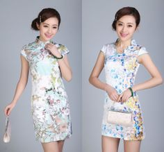 Qipao Charming Women's Mini Dress Cheong-sam Satin Chinese Dress Cyan Chi Pao