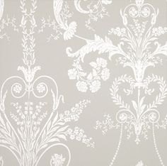 Josette White/Dove Grey from the Laura Ashley wallpaper collection. Shabby Bedroom, Gray