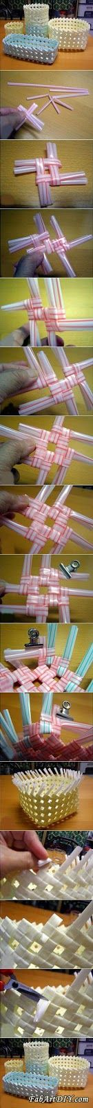 Not in English/ Make a Straw Basket out of Straws/ Just follow the picture. How cool is that?