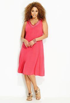 Shopping plus size dresses for Joyce.  Avenu.com: Coral Embellished Trim Knit Dress
