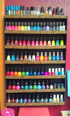 Nail Polish Organization colorful blue pink red nail polish colors yellow storage organize organization nails