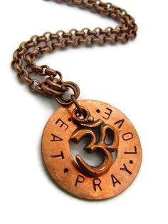 Eat Pray Love Om Yoga Jewelry Custom Stamped by TheJewelryByAndrea