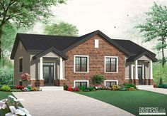 CLASSIC, MODERN & ELEGANT SEMI-DETACHED 6 bedroom semi-detached with attractive interior (# 3049) http://www.drummondhouseplans.com/house-plan-detail/info/lucinda-american-1002948.html