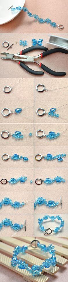 Simple Handmade Crystal Glass Beads Bracelet DIY #bracelet #beadsbracelet #pandahall
