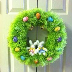 Easter Wreath Easter Wreaths, Holiday Wreaths, Holiday Crafts, Easter Projects, Easter Crafts, Wreath Crafts, Diy Wreath, Easter Crochet, Easter Celebration