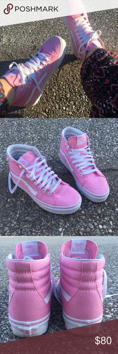 Vans Pink high top sk8rs. Size 6. Brand New! Have only been worn 3 times.  My boyfriend got them for my birthday and they are just too small, but I was dying to at least test them! Vans Shoes