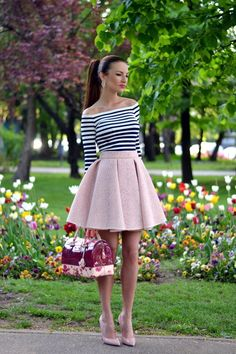 @roressclothes closet ideas #women fashion outfit #clothing style apparel Striped T-Shirt with Pink Skirt