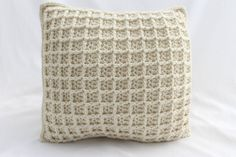 Square Crochet Cushion in Waffle-Stitch and by CottonwoodWorkshop