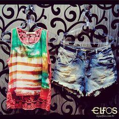 Dupla perfeita! Blusa com renda + shorts #morenarosa! Em breve também na nossa loja virtual: www.lojaelfos.com.br #denim #shorts #renda #summer15 #lojaelfos