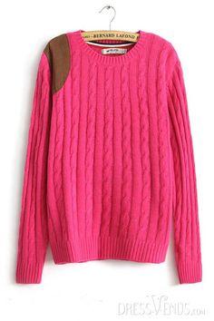 #Sweater #Knitwear #Yarn Lovely Leather European Woolen Yarn Long Sleeves Sweater