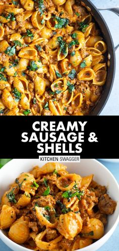 Creamy sausage shells is a sausage twist on bolognese. Simple cream-based pasta sauce prepared with sweet and spicy Italian sausage and shells. Italian Sausage Recipes, Sweet Italian Sausage, Beef Recipes, Cooking Recipes, Healthy Recipes, Sausage Meals, Uk Recipes, Easy Cooking, Healthy Meals
