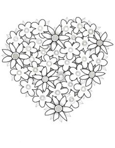 Coloring Pages Of Flowers And Hearts   Free Download Kids Coloring Printable