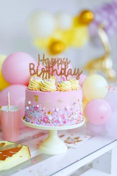Pink + Yellow Glam Birthday Cake from a Chic Pastel Dino Birthday Party on Kara's Party Ideas Happy Birthday Cake Images, Birthday Wishes Cake, Happy Birthday Wishes Cards, Birthday Celebration, Birthday Parties, Birthday Blessings, Yellow Birthday Cakes, Cute Birthday Cakes, Beautiful Birthday Cakes