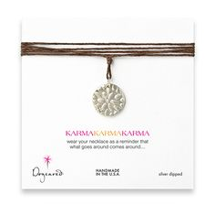 Large Karma Sterling Silver Flower Necklace on Hemp from Dogeared - $66.00