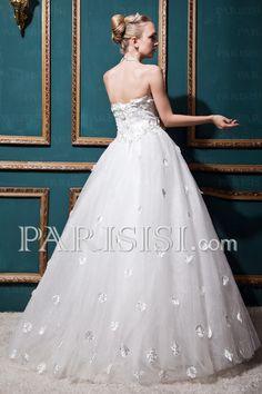 vestidos de novia Ball-Gown Tul Hasta Sinuelo Sin Mangas Encaje-up Blanco Natural Cristals Sinequs Flors Clásico Corazón ,€239