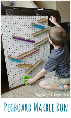 Engineering for Kids:  Build a Changeable Pegboard Marble Run. This is a great STEM project because kids can build it themselves, and it's easy to move the pieces around!
