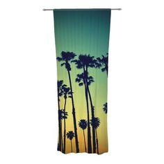 East Urban Home Richard Casillas Sunflower Mint Decorative Graphic Print & Text Sheer Rod Pocket Curtain Panels