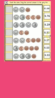 Use Google Slides digital math with movable answer pieces. Counting Coins