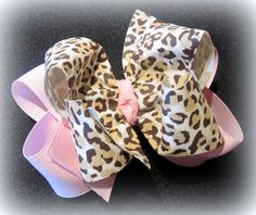 Baby Pink Leopard Fabulous Double Layered Boutique Lush Hair Bow Animal Print with Spikey Edges for Baby Toddler or Little Girl on Etsy, $5.75