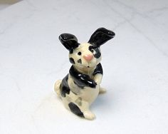 Rex Rabbit Miniature - Terrarium Figurine - Bunny Rabbit - Spotted Rabbit - Easter Decoration - Ceramic Figurine - Clay Animal - Small Pet