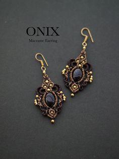 Macrame earrings onyx STONES SPIRIT Power Stone × macrame × healing jewelry shop