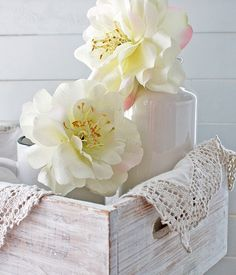 love the collection ~  the flowers in a cup in a box