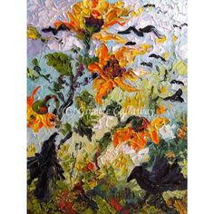 Ravens and Sunflowers impressionist Original by Ginette Callaway , Original…
