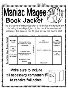 Maniac Magee Project: Create a Book Jacket:... by HappyTeacherHappyStudents | Teachers Pay Teachers