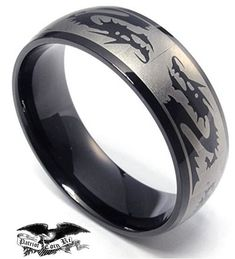 """Vintage Dragon Titanium Ring (2 Tone Black, Silver) 8mm, wedding bands, martial arts, fighting, mma, karate, judo, Chinese...""""For Sale"""" on ETSY made by www.PatriotCoinRings.com (photos © )"""