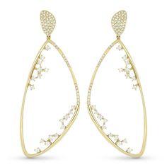 Drop Earrings w/ Round Cut Diamonds in 14k Yellow Gold - AM-DE10929 - AlfredAndVincent.com