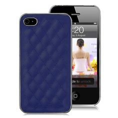 Grid Pattern Leather Coated Hard Case For iPhone 4S - Blue