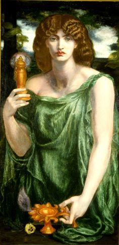 Mnemosine, 1881. Dante Gabriel Rossetti. Óleo sobre tela, Delaware Art Museum, Wilmington, USA. Ascendência: Gaia e Urano. A titã Mnemosine personificava a memória e é a mãe das nove musas.