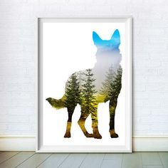 Dog Print German Shepherd Art Animal Wall by ChoosyArtDownload - instant animal art prints in a range of sized.