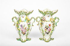 Pair of English Flower-Encrusted Porcelain Two-Handled Vases