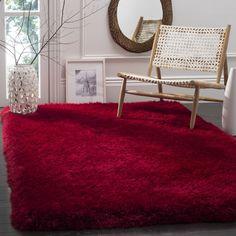 Safavieh Handmade Luxe Shag Super Plush Red Polyester Rug (8' x 10') (SGX160E-8), Size 8' x 10'