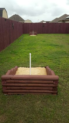 Backyard horseshoe pit.  Perfect for weekend get togethers!