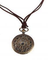 #Sheinside Gold Pocket Watch Heart Hollow Necklace