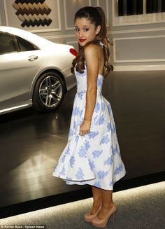 Real-life pin-up: The 20-year-old R singer Ariana Grande looked lovely at the Lincoln Center wearing a retro floral halter dress