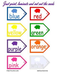 Free Color Tags for a Color Bulletin Board!