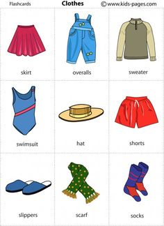 Free printable flashcards Clothes 2 - Repinned by Chesapeake College Adult Ed. We offer free classes on the Eastern Shore of MD to help you earn your GED - H.S. Diploma or Learn English (ESL) . For GED classes contact Danielle Thomas 410-829-6043 dthomas@chesapeake.edu For ESL classes contact Karen Luceti - 410-443-1163 Kluceti@chesapeake.edu . www.chesapeake.edu